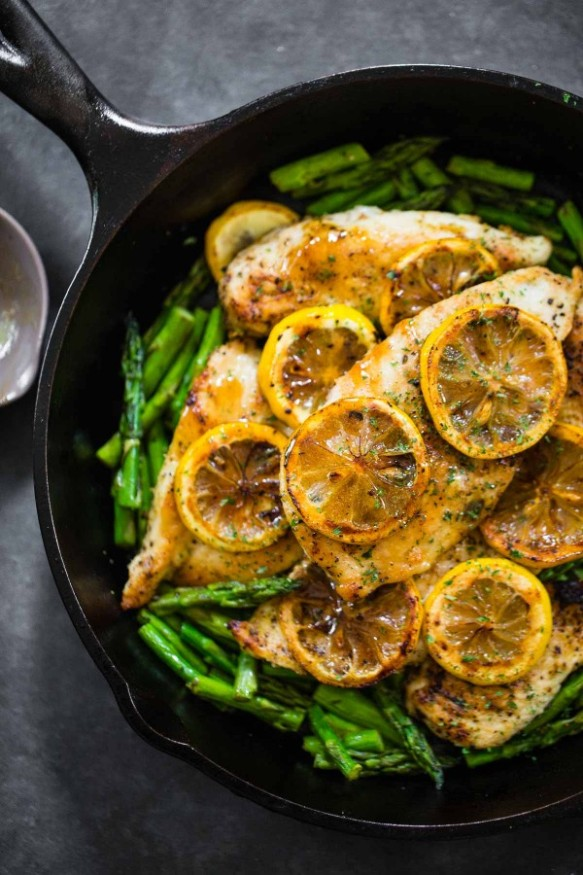 5 Ingredient Lemon Chicken Asparagus by Pinch of Yum
