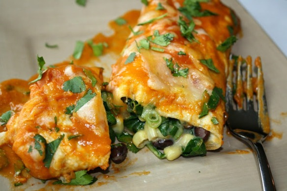 Black Bean Spinach Enchiladas by The Garden Grazer