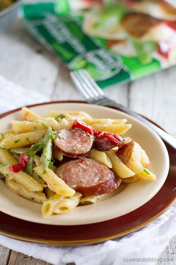 Skillet Pasta with Sausage by Taste and Tell Blog
